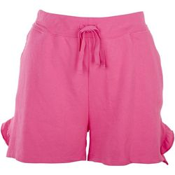Silverwear Womens Solid Pocket Ruffle Split Hem Shorts