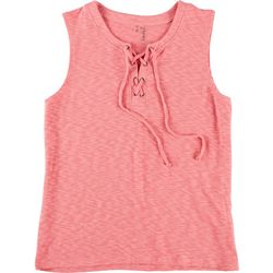 Silverwear Womens Lace Up Heathered Tank Top