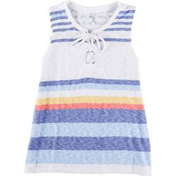 Silverwear Womens Lace Up Striped Tank Top