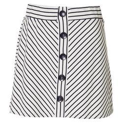 Womens Striped Faux Button Down Skort