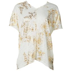 Coral Bay Womens Shimmer Floral V-Neck Top