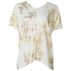 Womens Shimmer Floral V-Neck Top