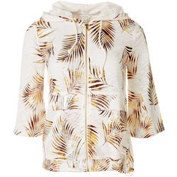 Coral Bay Womens Palm Frond Zip Jacket