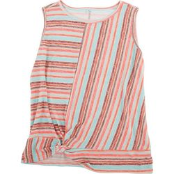 Silverwear Womens Striped Sleevless Top With Knot Feature