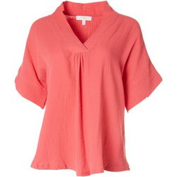 Coral Bay Womens Solid Textured Hi-Lo Top