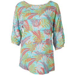 Coral Bay Womens Tropical Palm Tiered Textured Top