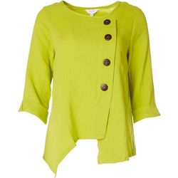 Coral Bay Womens Solid Assymetrical Button Top