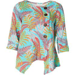 Coral Bay Womens Tropical Assymetrical Button Top
