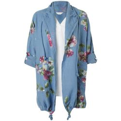 Womens Floral Open Front Drawstring Jacket