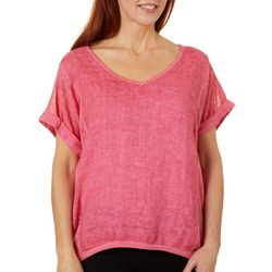 Coral Bay Womens Solid Linen V-Neck Top