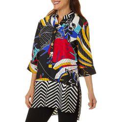 Coral Bay Womens Mixed Floral Print Tunic Top