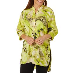 Womens  Mixed Animal Print Tunic Top