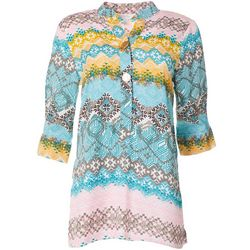 Coral Bay Womens Mixed Print Henley Top
