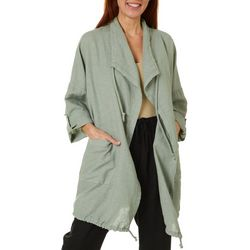 Coral Bay Womens Solid Open Front Drawstring Jacket
