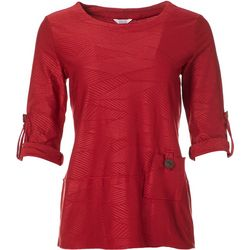 Kaktus Womens Textured Roll Tab Top