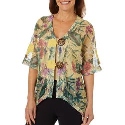 Coral Bay Womens Tropical Floral Mesh Cardigan
