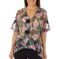 Coral Bay Womens Tropical Hibiscus Mesh Cardigan