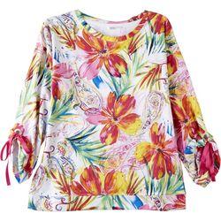 Kaktus Womens Pretty Flowers 3/4 Sleeve Top