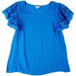 Coral Bay Womens Ruffled Crochet Sleeves Top