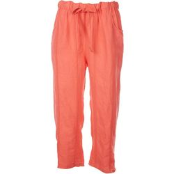 Kaktus Womens Solid Linen Drawstring Pants
