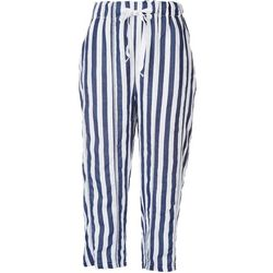 Kaktus Womens Striped Linen Drawstring Pants