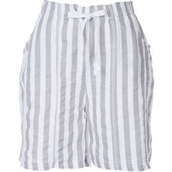 Kaktus Womens Linen Striped Shorts