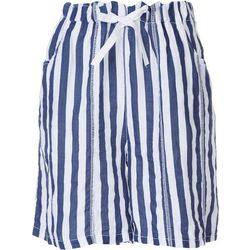 Kaktus Womens Linen Striped Shorts