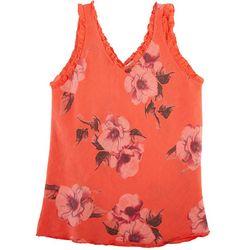 Kaktus Womens Linen Floral Summer Sleeveless Top