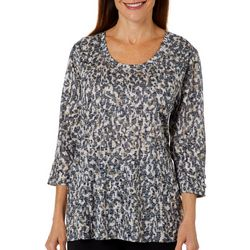 Erika Womens Burnout Groovy Leopard Lattice Sleeve Top