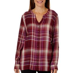 Erika Womens Alisa Plaid Button Down Top