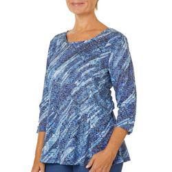 Erika Womens Coral Embellished Geometric Print Burnout Top