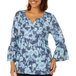 Erika Womens Jenna Pleated Floral Print Burnout Top
