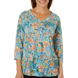 Erika Womens Penny Paisley Henley Top