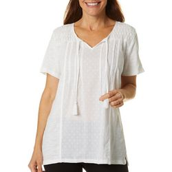 Womens Ophelia Embroidered Short Sleeve Top