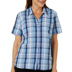 Erika Womens Hayden Plaid Button Down Top