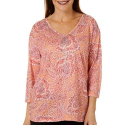 Erika Womens Millie Paisley Print V-Neck Top