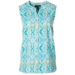 Erika Womens Irina Geometric Button Down Sleeveless Top
