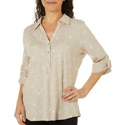 Coral Bay Womens Shell Space Dye Elbow Sleeve Top
