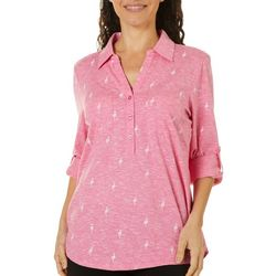 Coral Bay Womens Flamingo Space Dye Elbow Sleeve Top