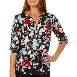 Coral Bay Womens Painted Floral Roll Tab Pop Over Top