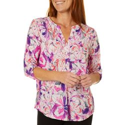 Coral Bay Womens Feminine Floral Roll Tab Pop Over Top