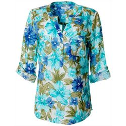 Coral Bay Womens Floral Print Button Down Top