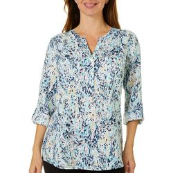 Coral Bay Womens Dot Print Button Down Top