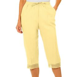 Womens Solid Crochet Trim Capris