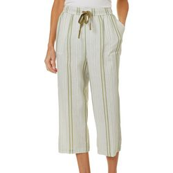 Womens Striped Linen Capris