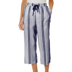 Coral Bay Womens Striped Linen Capris