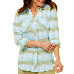Coral Bay Womens Plaid Print Button Down Top
