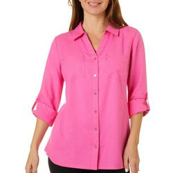 Coral Bay Womens Knit To Fit Button Down Solid Top