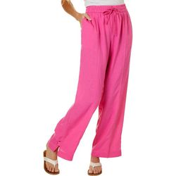 Coral Bay Womens Solid Linen Pants