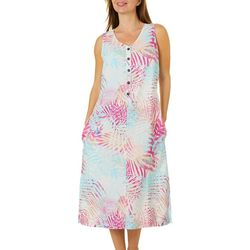 Coral Bay Womens Tropical Palm Print Sleeveless Dress